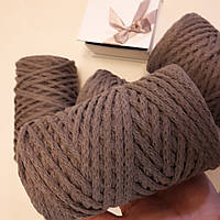 Шнур хлопковый толстый для макраме и вязания молочный (80 м 250 грамм)