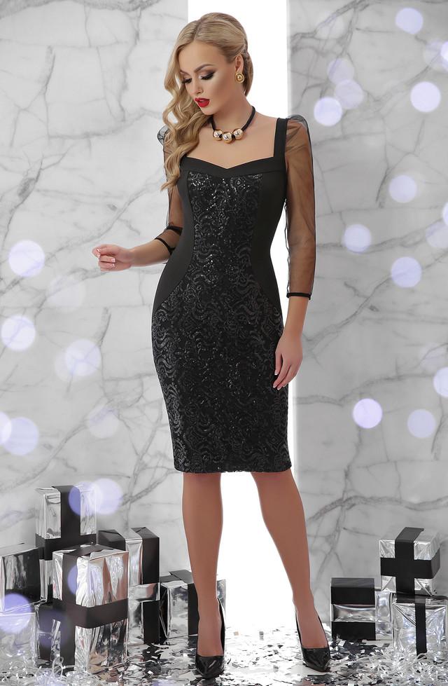 Женское нарядное платье с пайетками, чёрное, облегающее, вечернее, коктейльное