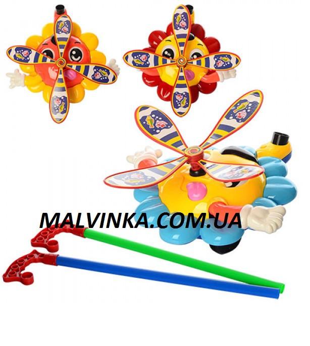 Детская игрушка-каталка «Вертолетик» на палочке 363