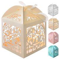 Бонбоньєрка (коробочка для цукерок) Jasmine N00491 в упаковці 50 шт, 6 * 6 * 6 см, бонбоньєрки, весільні бонбоньєрки, бонбоньєрки гостям, бонбоньєрки