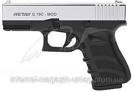 Пистолет стартовый Retay G 19C, 9 мм, 7-зарядный, никель