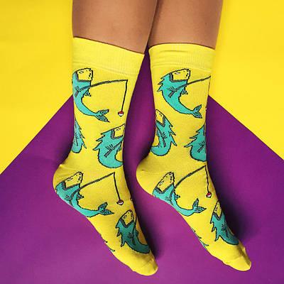 """Носки """"Strange animals/Fish"""" желтые"""