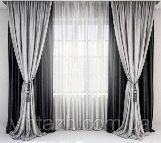Готовый комплект штор для гостиной стильный