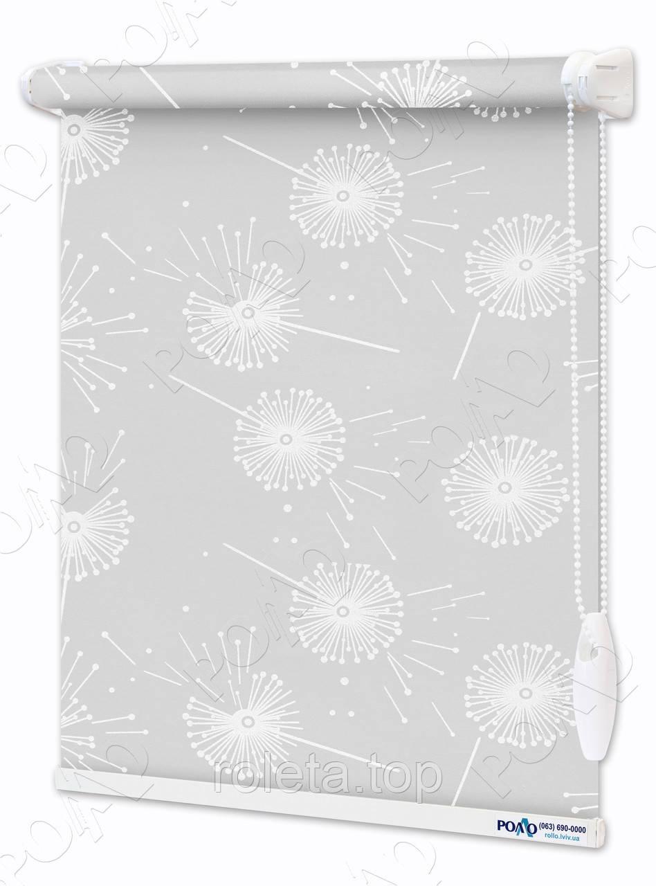Рулонные шторы Одуванчики Бело-серые
