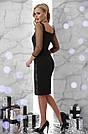 Женское нарядное платье с пайетками чёрное облегающее вечернее коктейльное, фото 2