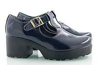 VM-Villomi Темно-синие туфли на каблуке из натурального лака со скидкой