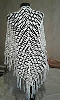 Белая ажурная шаль вязанная крючком Ручная работа