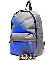 Повседневный рюкзак Nike копия люкс качества Серый с синим принтом спортивный, водоотталкивающий материал