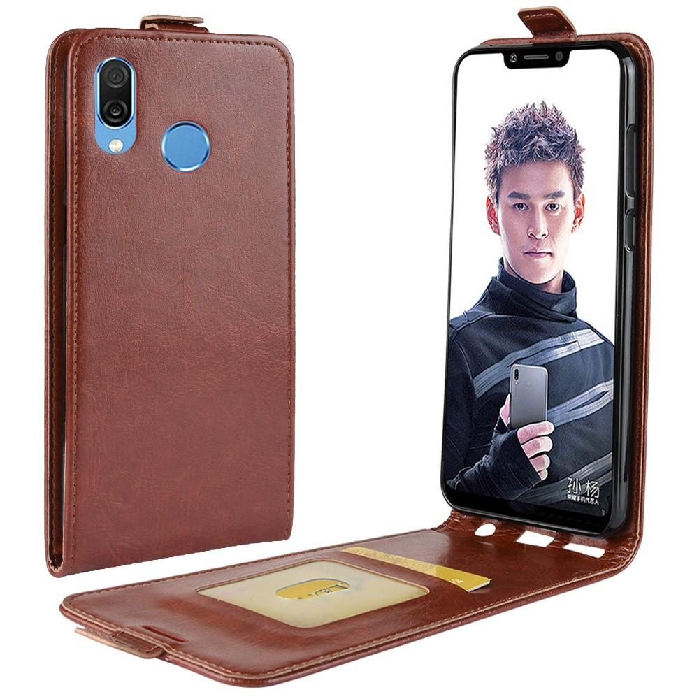 Чехол книжка для Huawei Honor Play вертикальный флип, Гладкая кожа, коричневый