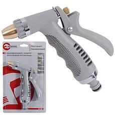 Пистолет-распылитель для полива хромированный с плавной регулировкой потока воды INTERTOOL GE-0013