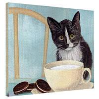 "Картина на холсте ""Черно-белая кошка"" 40х50см"