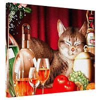 "Картина на холсте ""Кошка и натюрморт"" 40х50см"