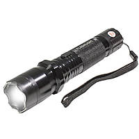 ✖Фонарь Police 1101 ⇐ Black ручной яркий ☀ для отпугивания собак и самозащиты металлический с шокером