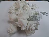 Гирлянда светодиодная Белые розы. 20LED,5м