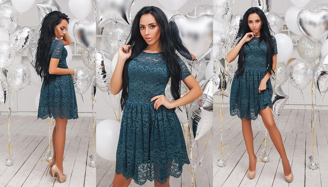 Красивое женское гипюровое платье (7расцв)  42.44.46