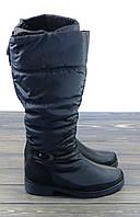 Зимние сапоги дутики черные на каблуке