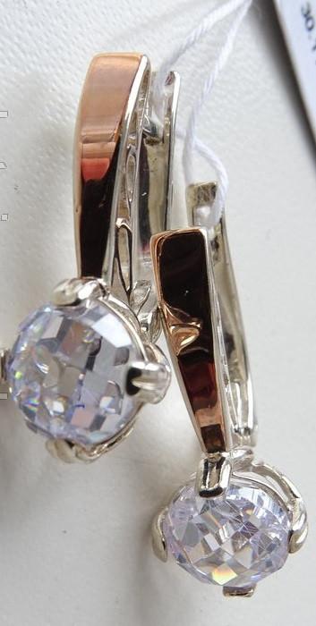 Классические серебряные серьги с золотыми вставками