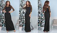 Платье женское макси  из креп-дайвинга (6 цветов) - Черный ТК/-4018, фото 1