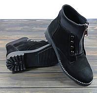 Замшевые стильные ботинки черные Sopra, фото 1