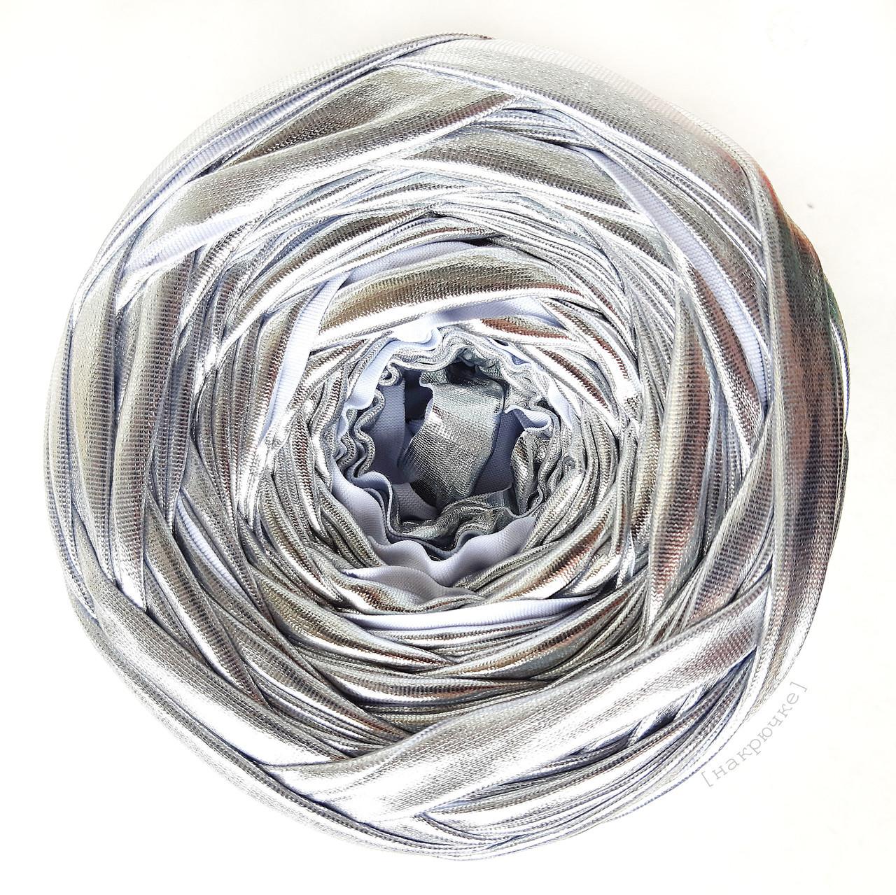 Трикотажная пряжа Belka, цвет Серебристый 7-9 мм (50 м)
