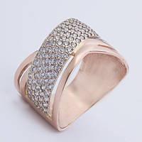 Золотое кольцо широкое с фианитами. КП1626