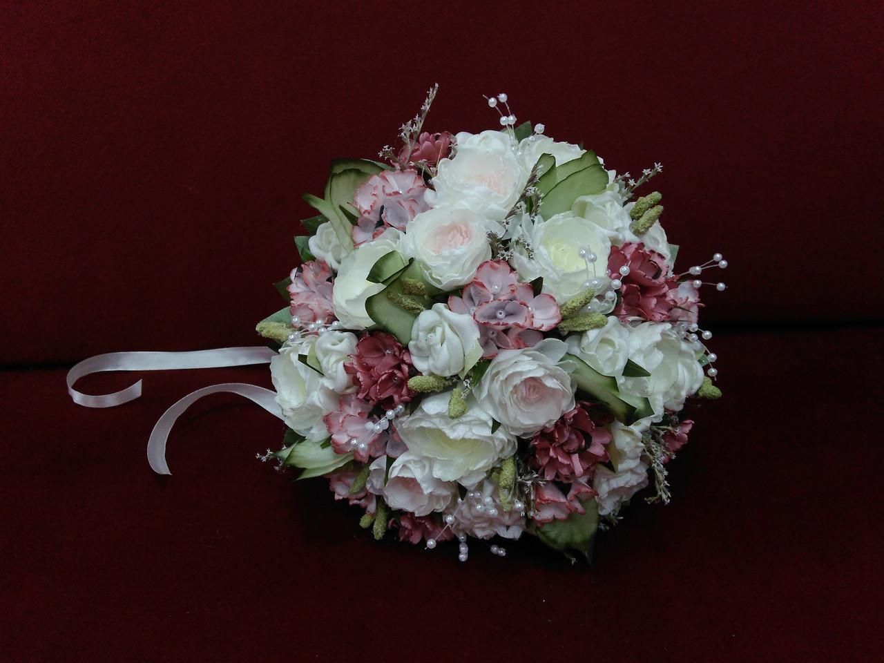 Свадебный букет-дублер айвори с розовым