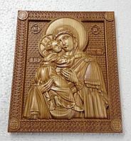 Икона деревянная, резная Божией Матери Владимирская