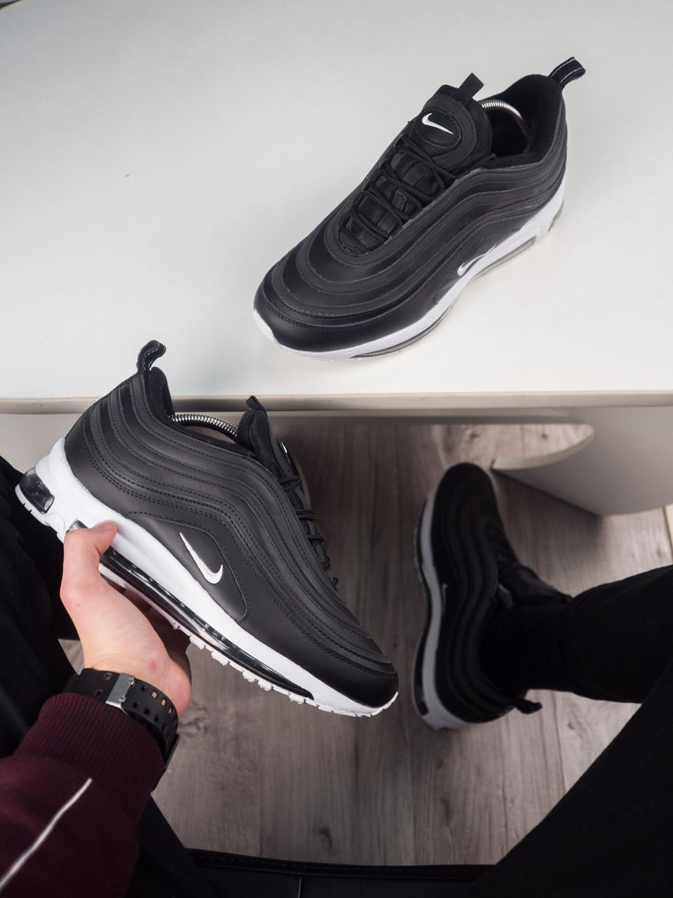 c705b8f0bdc8 Мужские Кроссовки Nike Air Max 97 Black (МЕХ) Реплика AAA+ — в ...