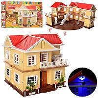 Игровой домик Anbeiya Family 1512, 2 этажа, свет