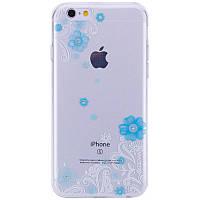 """Силиконовый 3D чехол Devia """"Crystal Lily"""" для Apple iPhone 6/6s (4.7"""") Голубой"""