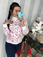 Белый свитер с розовым принтом, фото 1
