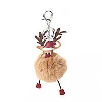 Брелок Різдвяний олень, ЕКО шкіра + Помпон, Колір: Сріблястий тон, Світло-коричневий, 19см x 8см, фото 1