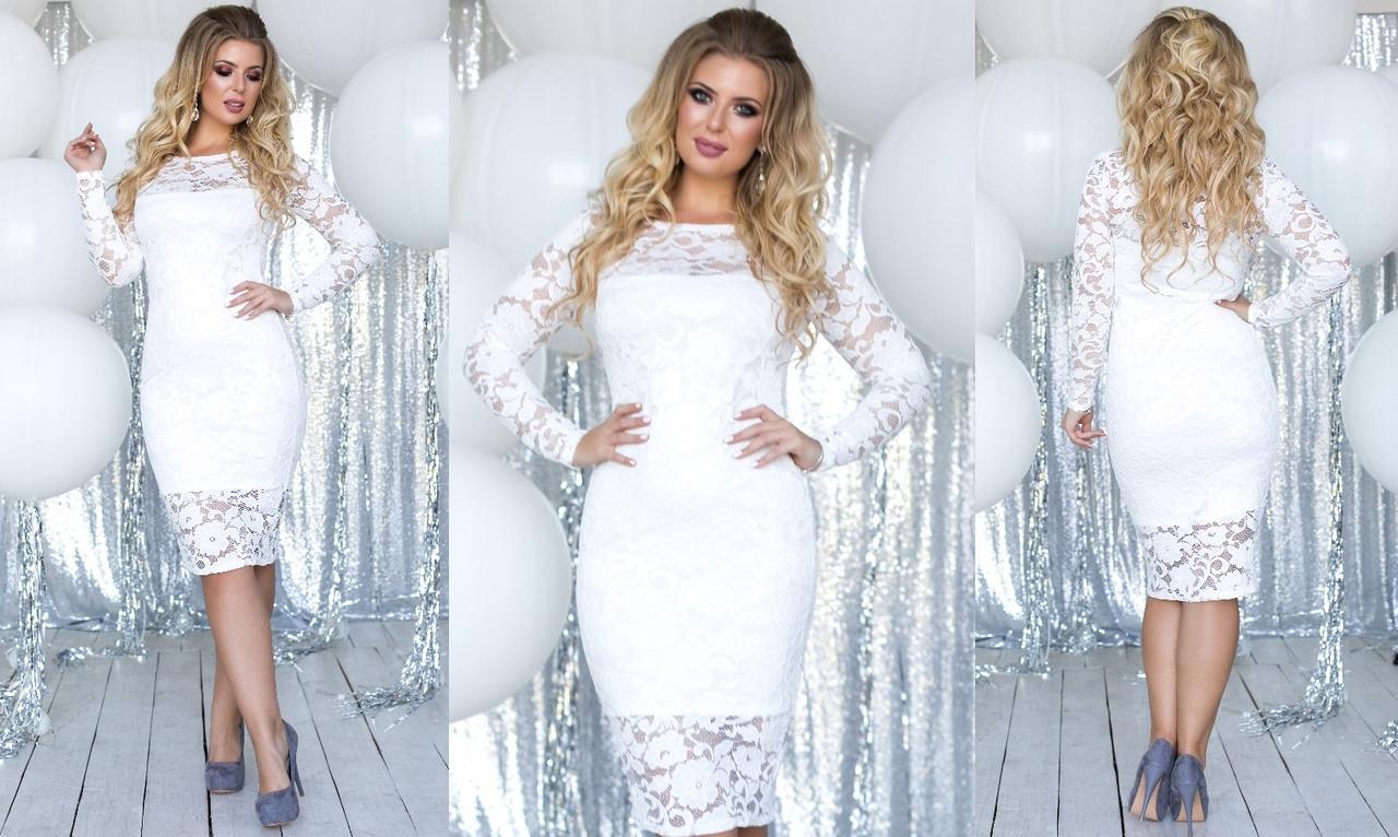Гипюровое батальное облегающее платье средней длинны (6 расцв)42,44,46