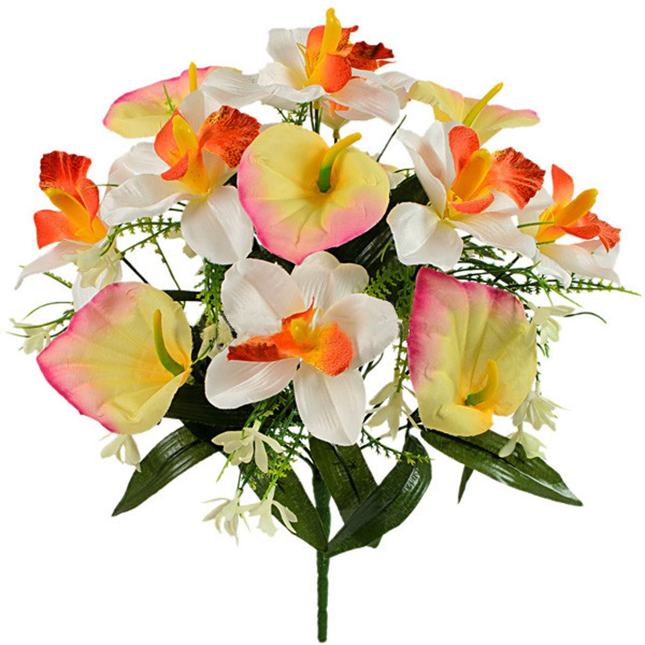 Букет искусственных орхидей и каллы, 40см