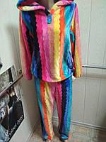 Микрофибровая пижама с капюшоном (радуга) Размер M/L, фото 1