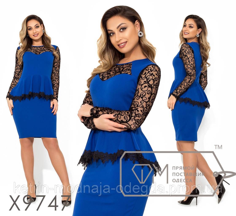 cedfb36a57f3c5b Нарядное коктейльное женское платье с баской больших размеров 48, 50, 52, 54