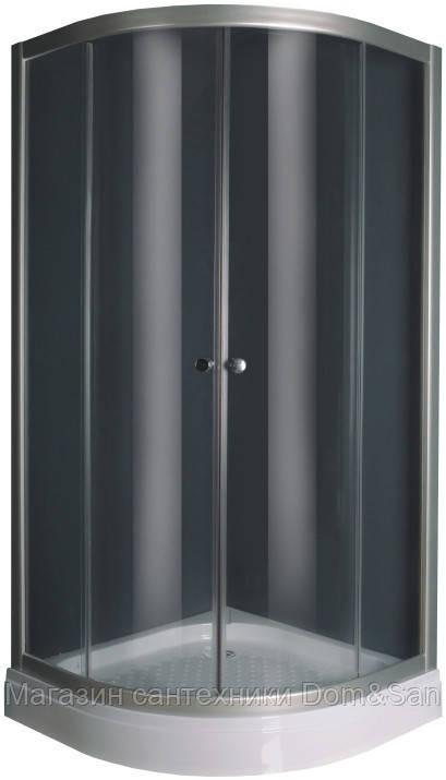 Полукруглая душевая кабина 80x80 Elephant EL-15 профиль хром/стекло fabric