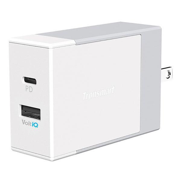 Адаптер мережевий універсальний 2xUSB Tronsmart W2DC 42W USB PD Wall Charger with VoltiQ White