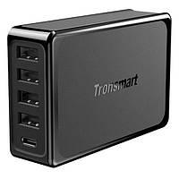 Адаптер мережевий універсальний 4xUSB Tronsmart U5P 60W USB PD Desktop Charger with VoltiQ Black, фото 1