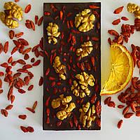 Натуральный шоколад ДЛЯ ПОХУДЕНИЯ с ягодами годжи и грецким орехом БЕЗ САХАРА и МОЛОКА