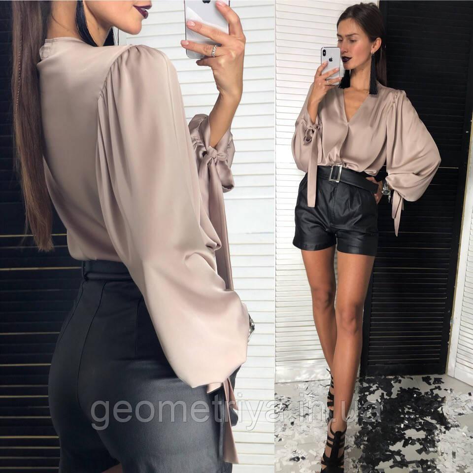 0991ccc2ea0 Женская блуза с пышными рукавами цвета мокко  продажа