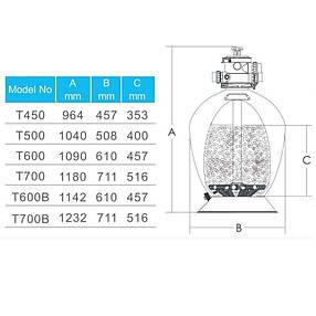 Фильтр Emaux T700 Volumetric (19.5 м3/час, D711) для бассейна с объёмом воды до 80 м3, фото 2