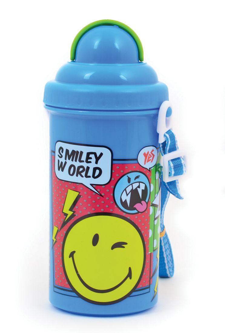 "Бутылка для воды Yes ""Smiley World"" 706257 с трубочкой, 400 мл"