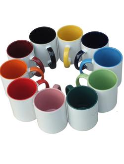 Чашка для сублимации цветные внутри  с цветной ручкой 425мл
