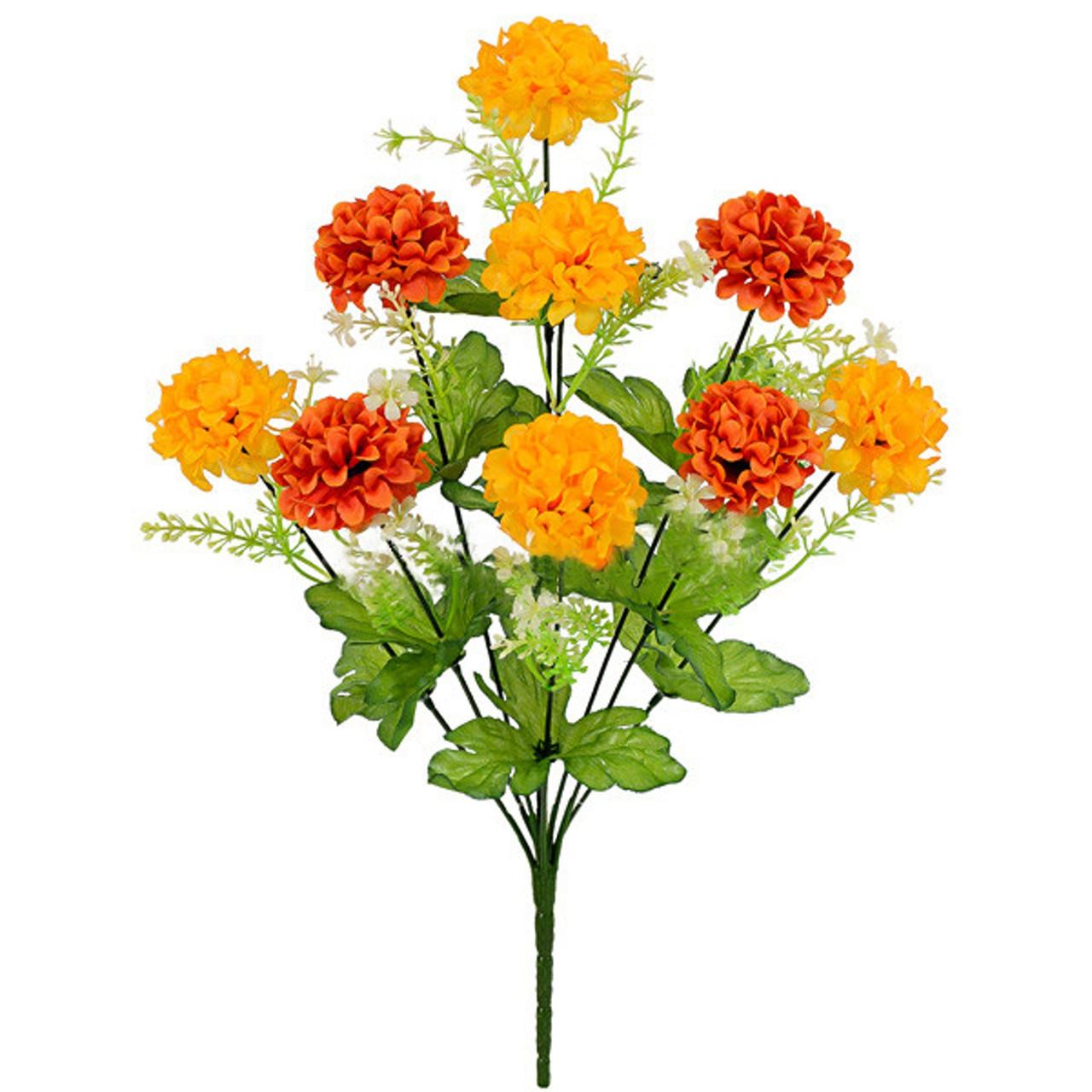 Букет искусственная хризантема шар, 44см