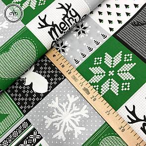 """Польская хлопковая ткань """"елки, снежинки на зеленых, серых, черных квадратах"""", фото 2"""