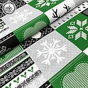 """Польская хлопковая ткань """"елки, снежинки на зеленых, серых, черных квадратах"""""""