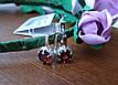 Серебряные серьги с золотыми вставками и гранатом, фото 3