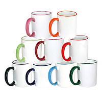 Чашка для сублімації з кольоровим обідком і ручкою 330мл (серія PREMIUM)