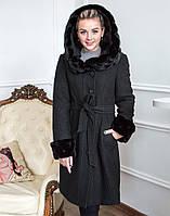 Пальто женское утепленное К-72 вареная шерсть черный